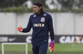 Cássio no treino do Corinthians no CT Joaquim Grava