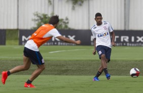 Leo Pricipe e Romero no treino do Corinthians no CT Joaquim Grava