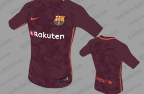 Projeção da nova camisa alternativa do Barcelona