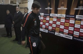 Romero durante chegada do time ao estádio antes do jogo contra o Colo-Colo, no Chile