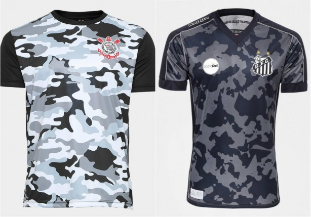 Camisas de Corinthians e Santos lado a lado  semelhantes por coincidência  0251abb6dd13c