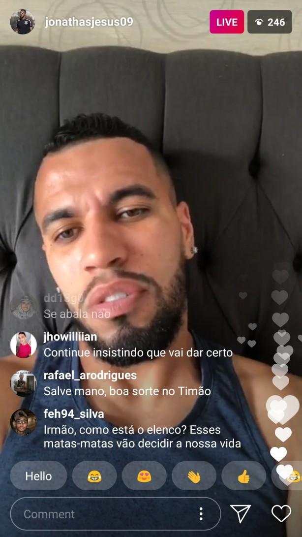 Live on Instagram, Jonathas asks paci